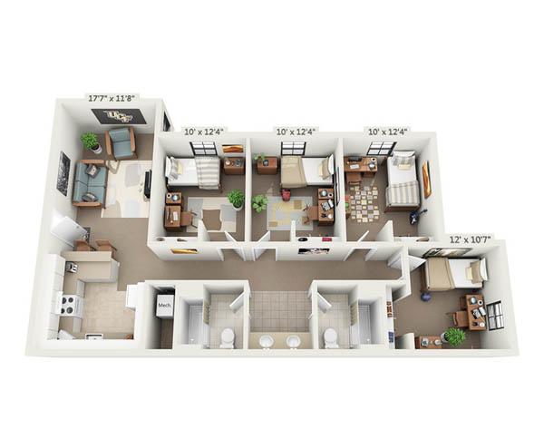Rosen 4 Person apartment