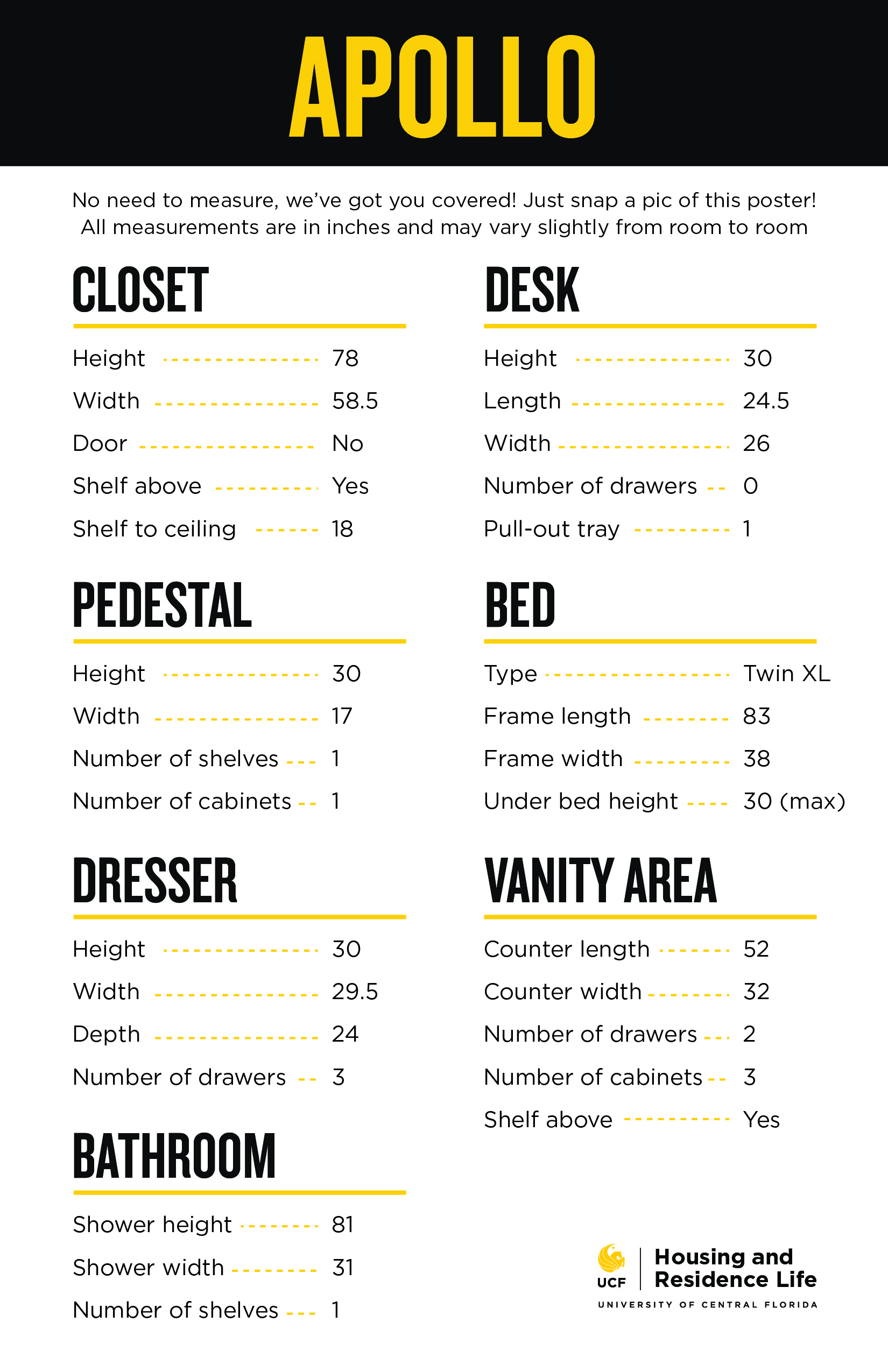 Apollo furniture dimensions